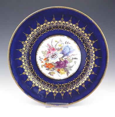 Antique Chamberlains Worcester Hand Painted Flowers Plate - Cobalt Blue Borders
