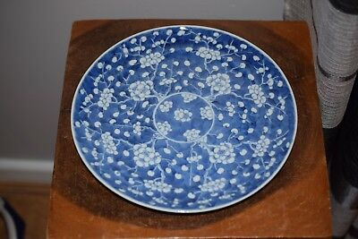 A FINE CHINESE ANTIQUE PRUNUS & HAWTHORN PLATE / DISH -Late 19th