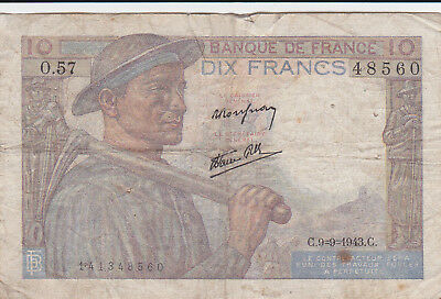 10 Francs Vg Banknote From German Occupied France 1943!pick-99!