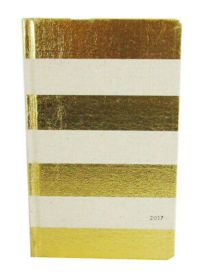KATE SPADE NEW YORK Vanilla/Gold  Stripe Linen 12 Month Agenda 2017 Book $40.00