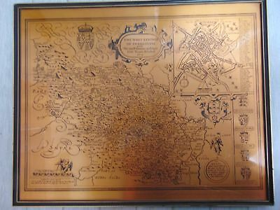 Copper Effect Modern Reproduction HISTORICAL MAP OF WEST YORKSHIRE (1610) - P23