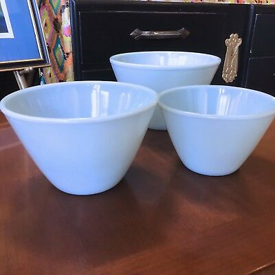 Vintage Set of 3 Blue Fire King Nesting Mixing Bowls