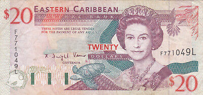 20 Dollars Fine-Vf Banknote From  Eastern Caribbean/st Lucia 1994!pick-33I