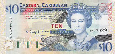 10 Dollars Vf+ Banknote From  Eastern Caribbean/st Lucia 1994!pick-32I