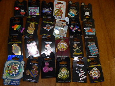 AUTHENTIC Disney Trading Pins Lot 25 No Duplicates New On Cards A
