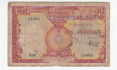 10 Piastres Vg Banknote From French Indochine 1953!pick-107