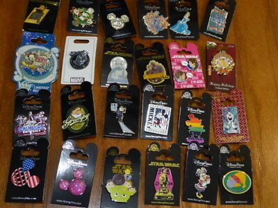 AUTHENTIC Disney Trading Pins Lot 25 No Duplicates New On Cards E