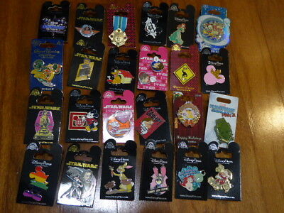 AUTHENTIC Disney Trading Pins Lot 25 No Duplicates New On Cards H