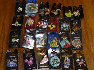 AUTHENTIC Disney Trading Pins Lot 25 No Duplicates New On Cards N