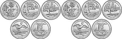 Brilliant Uncirculated 2018 5P & 5D US National Parks 25 Cents From Mint's Rolls
