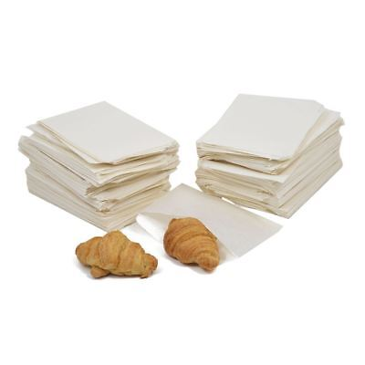 "100x White Sulphite Flat Paper Bags White Food Grocery Sandwich Bags 12"" x 12"""