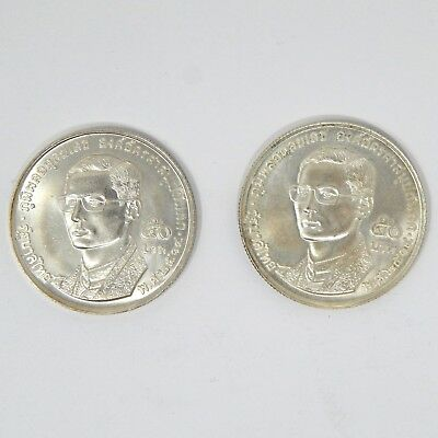 (2) 1971 50 Baht Thailand 900 Silver Uncirculated 1.4294 Oz. Coin A6755