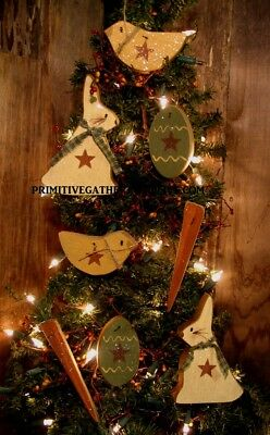 = 8 Primitive EASTER BUNNY Rabbit Carrot  EGG CHICK Wood Ornies Ornaments