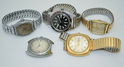 LOT OF 5 Men's VINTAGE Mechanical Watches ELGIN Wyler DYNAWIND Caravelle AUTO
