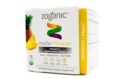 Zoganic fruitZip Digestive Supplement Drink - Pineapple 15 sachets