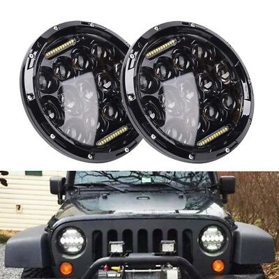 "Pair 7"" Inch 75W LED DOT lamp Headlight DRL for 1997~2017 Jeep Wrangler TJ JK"