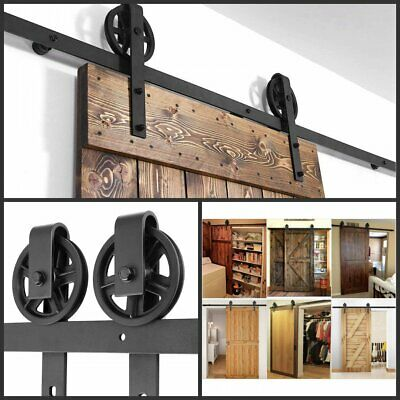 Sliding Barn Door Hardware Kit 6.6 FT Wood Modern Hang Style Track Rail Set Pack
