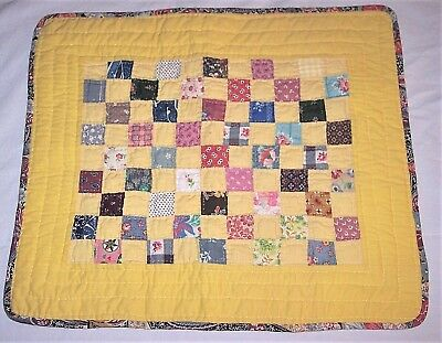 Vintage Antique Baby Doll Nine Patch Hand Quilt Yellow Multi Feed Sack Patchwork