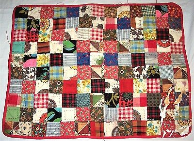 Vintage Antique Baby Doll Squares Hand Quilt Multi Feed Sack Patchwork 20 x 15