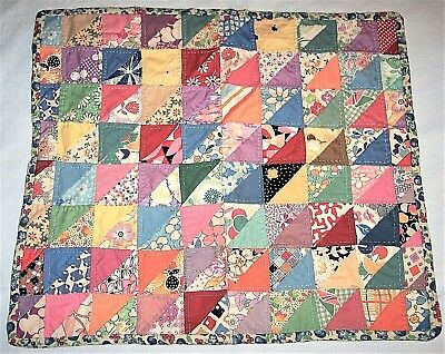 Vintage Antique Baby Doll Triangles Hand Quilt Multi Feed Sack Patchwork 15 x 13