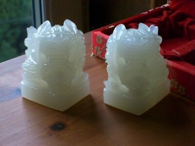 A Boxed Pair Of Chinese Hand Carved White Jade Mythical Beast Seals VGC