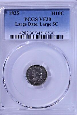 1835 Capped Bust Half Dime : PCGS VF30 Large Date Large 5C