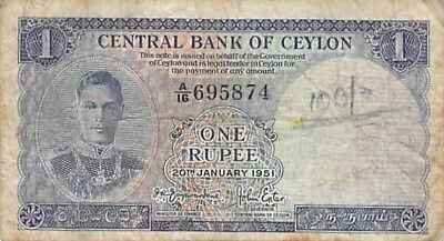 Central Bank Of Ceylon 1 Rupee Note 1951 P-47