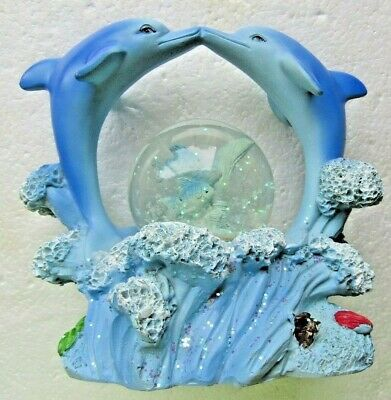 "SNOW GLOBE ornament  "" TWO  DOLPHINS & FISH "" GLITTERS WATER."