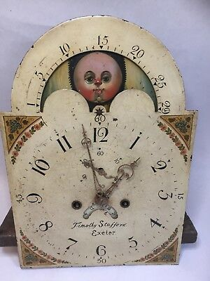 Antique Grandfather Clock Movement Moon Phase 8 Day T Stafford Exeter,c1820