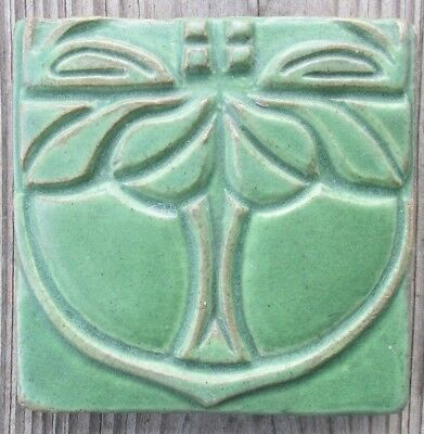 Vintage Retired Motawi Tileworks Green Art Tile Wall Plaque 4 x 4 Botanical