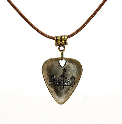 Bronze Metal Guitar Pick Necklace With Treble Clef Cotton Thong Music Gift Idea