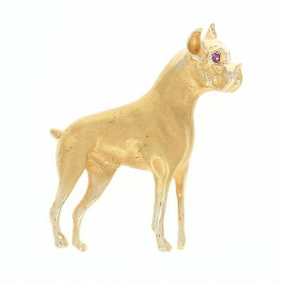 Boxer Brooch - 14k Yellow Gold Matte Finish Ruby Accent Canine Pin