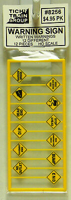 Tichy Train Group HO #8256 WARNING SIGNS Written Warnings 12 Different 12pcs