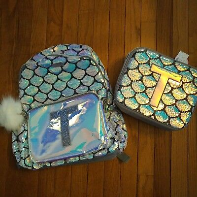 """Lunch Tote Set NWT Very Cute! Justice Girls Mermaid Initial /""""S/"""" Backpack"""