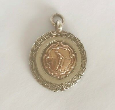Antique 925 Silver & Gold - CRICKET - Pocket Watch Fob Medal - CHESTER 1936