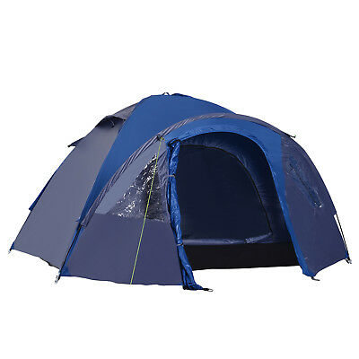 2 3 4 Person Double Layer Camping Tent Travel Hiking Tent Portable Blue