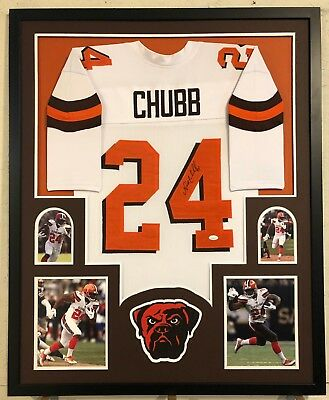 cce22580a0b Nick Chubb Autographed Custom Framed Cleveland Browns White Jersey JSA COA
