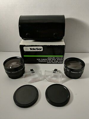 TeleSor Telephoto & Wide Angle Lens Set for Canon sure shot AF35M w/Box and Case