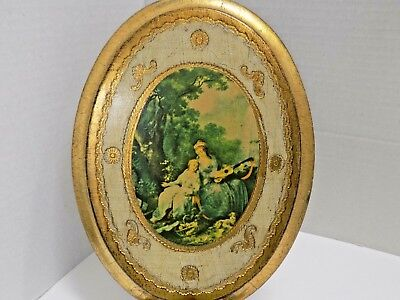 OVAL GOLD FLORENTINE PORTRAIT 2 WOMEN PICTURE FRAME GILT PRINT ITALY 7x9 VINTAGE