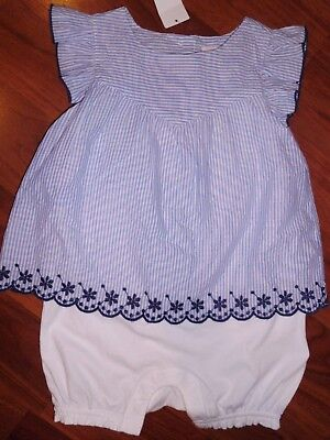 26a536ea795 12 18 M BABY GAP Blue White Striped Eyelet Scalloped Layer Romper New Girl  NWT