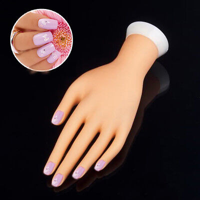 CO_ Bendable Table Mount Manicure Practice Model Nail Art Training Faux Hand Goo