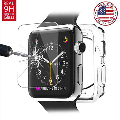 For Apple Watch Series 3 4 38/42mm Soft Clear Bumper Case Screen Cover Protector