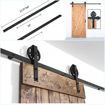 6.6FT Antique Wood Sliding Barn Door Track Hardware Set Kitchen Closet Kit