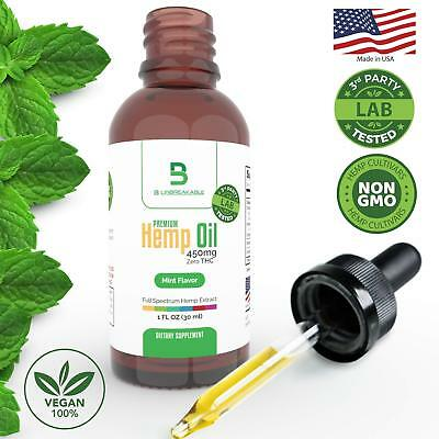 450mg Organic Hemp Oil for Pain Relief - Stress Support, Anxiety - Natural Anti