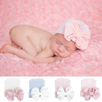 Baby Girls Infant Colorful Striped Soft Hat with Bow Cap Newborn Beanie Cute pon