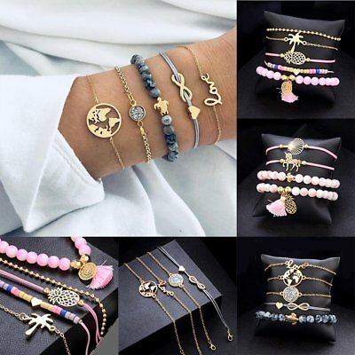 NEW Women Natural Stone Bracelet Set Rope Beaded Crystal Chain Meal Jewelry Gift