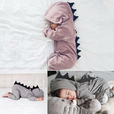 Newborn Infant Baby Boy Girl Dinosaur Hooded Romper Jumpsuit Clothes Outfit 1PCS