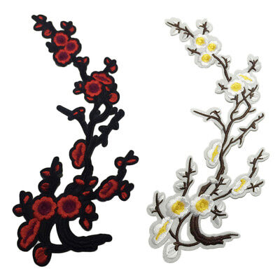 1pc Embroidery Patch Stickers Iron On Sew Cloth Blossom Plum Applique Clothing