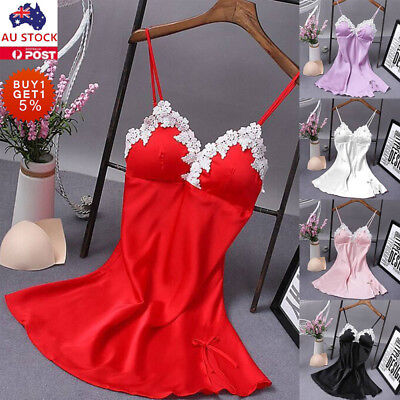 Women Lace Satin Lingerie Sleep Dress Sleepwear Nightwear Babydoll Robe Skirt