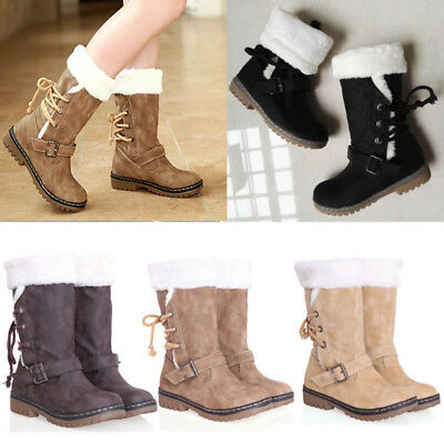 Women's Winter Boots Snow Fur Warm Insulated Waterproof Midi Calf Shoes Size AU